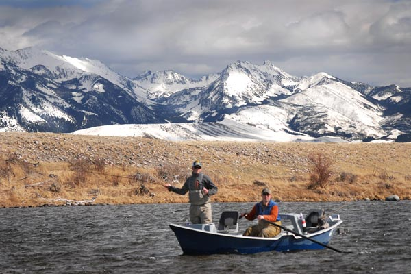 Fishing the Madison River in April in Montana
