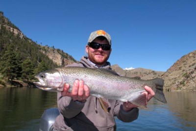 Griff Holland with a Huge Rainbow Trout - Land of the Giants Montana